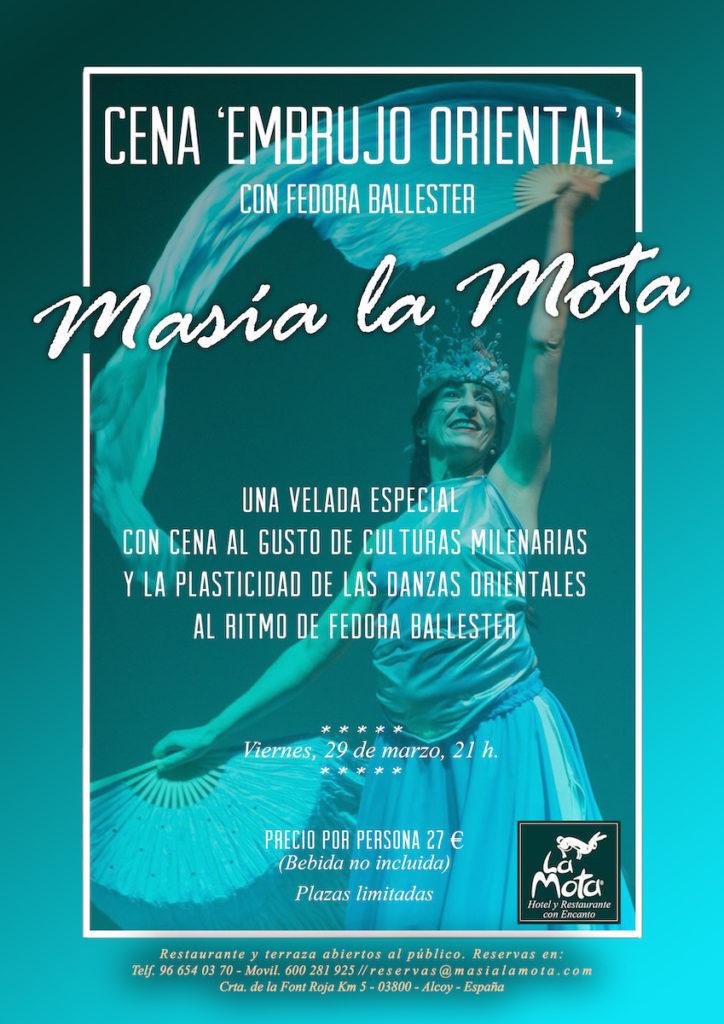 Restaurante Masia La Mota ofrecerá una cena oriental el próximo 29 de marzo.